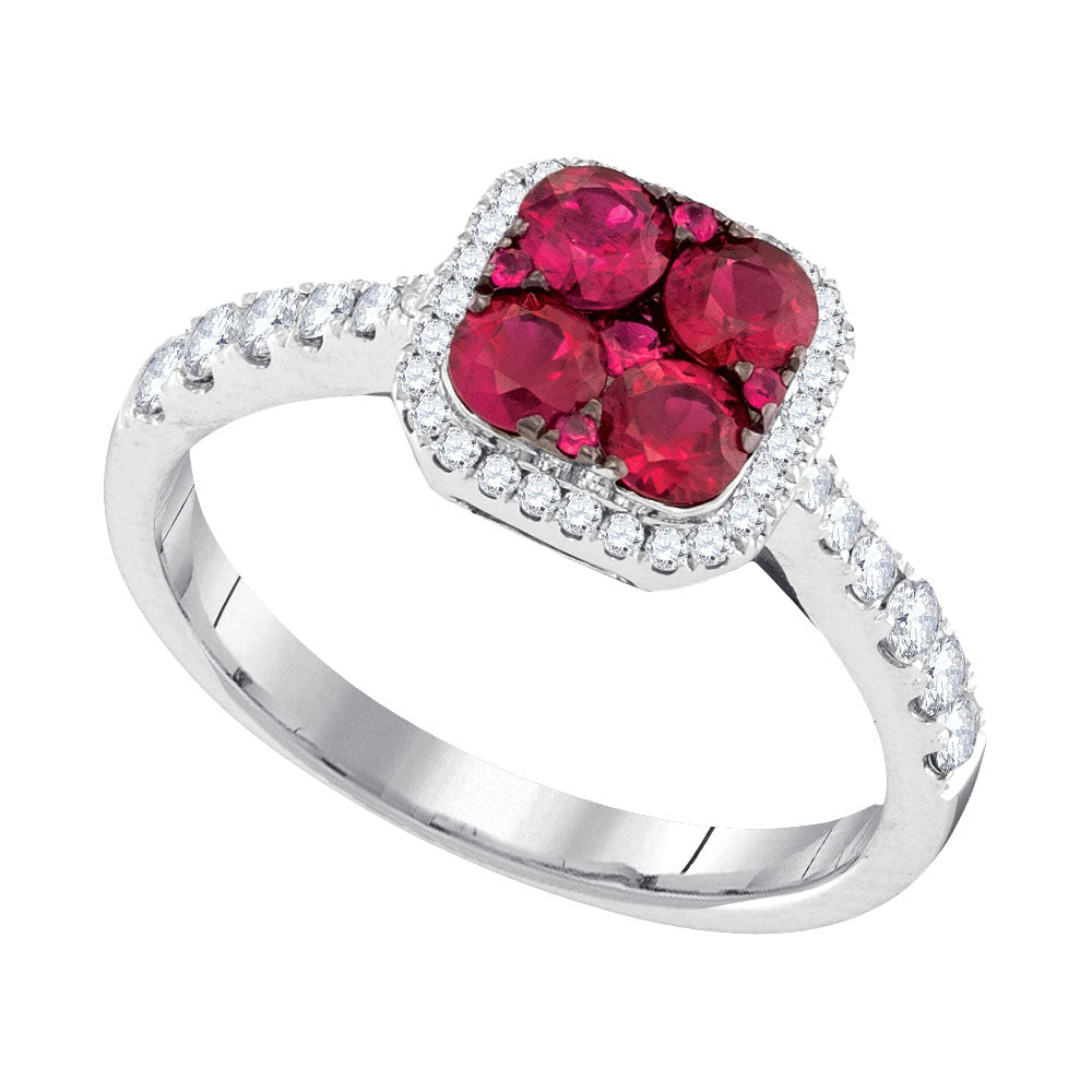 14kt White Gold Womens Round Ruby Square Frame Cluster Diamond Ring 1 Cttw