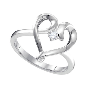 10kt White Gold Womens Round Diamond Heart Promise Ring 1/20 Cttw