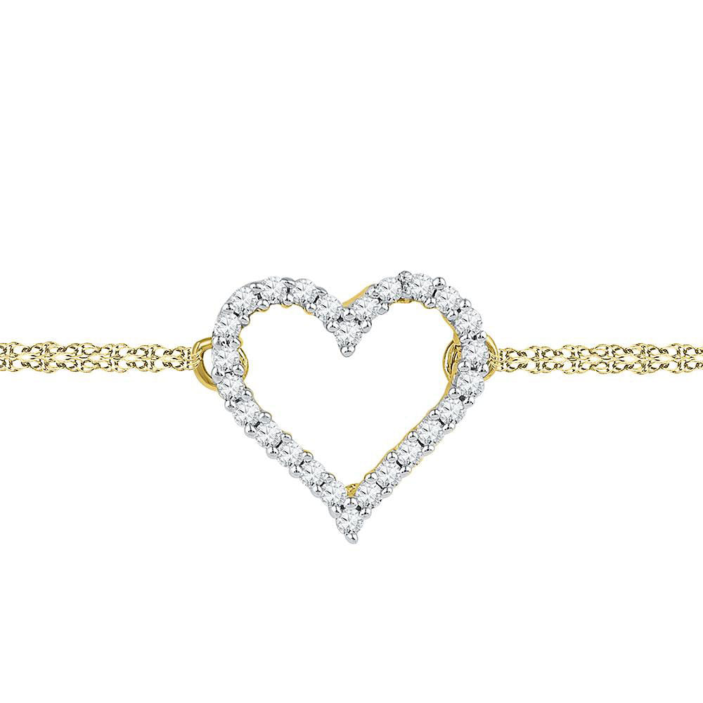 10kt Yellow Gold Womens Round Diamond Heart Bracelet 1/8 Cttw