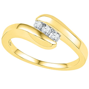10kt Yellow Gold Womens Round Diamond 3-stone Promise Ring 1/8 Cttw