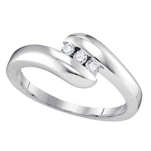 10kt White Gold Womens Round Diamond 3-stone Promise Ring 1/8 Cttw