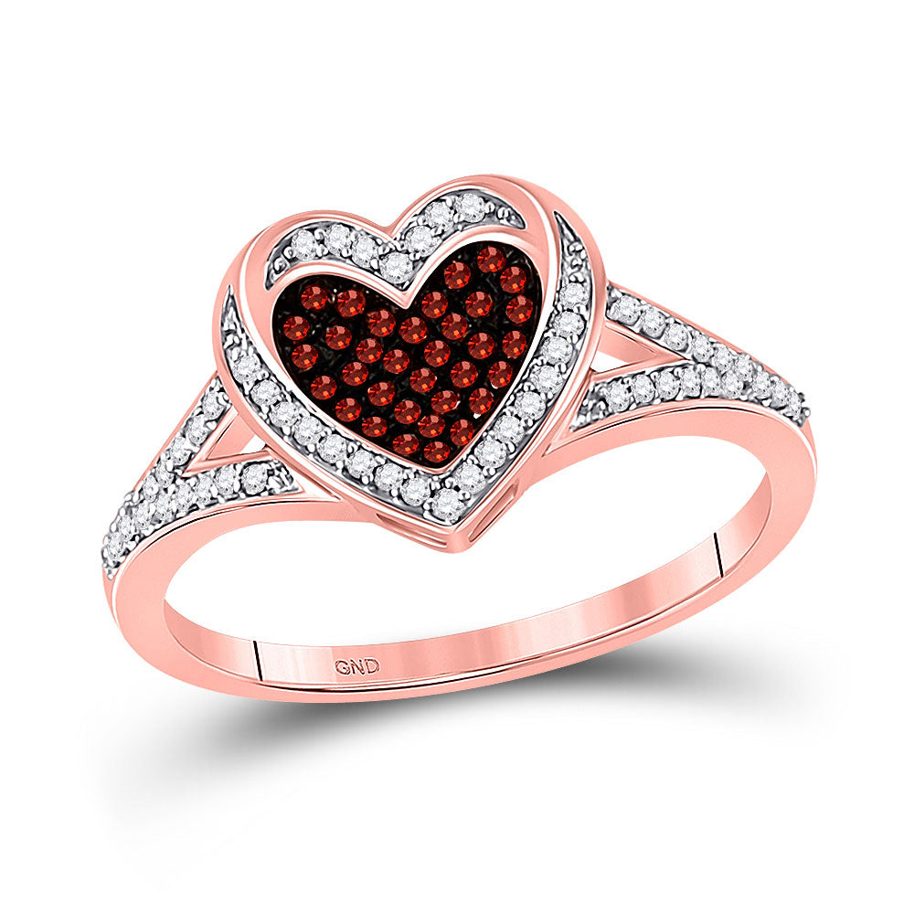 10kt Rose Gold Womens Round Red Color Enhanced Diamond Heart Ring 1/5 Cttw
