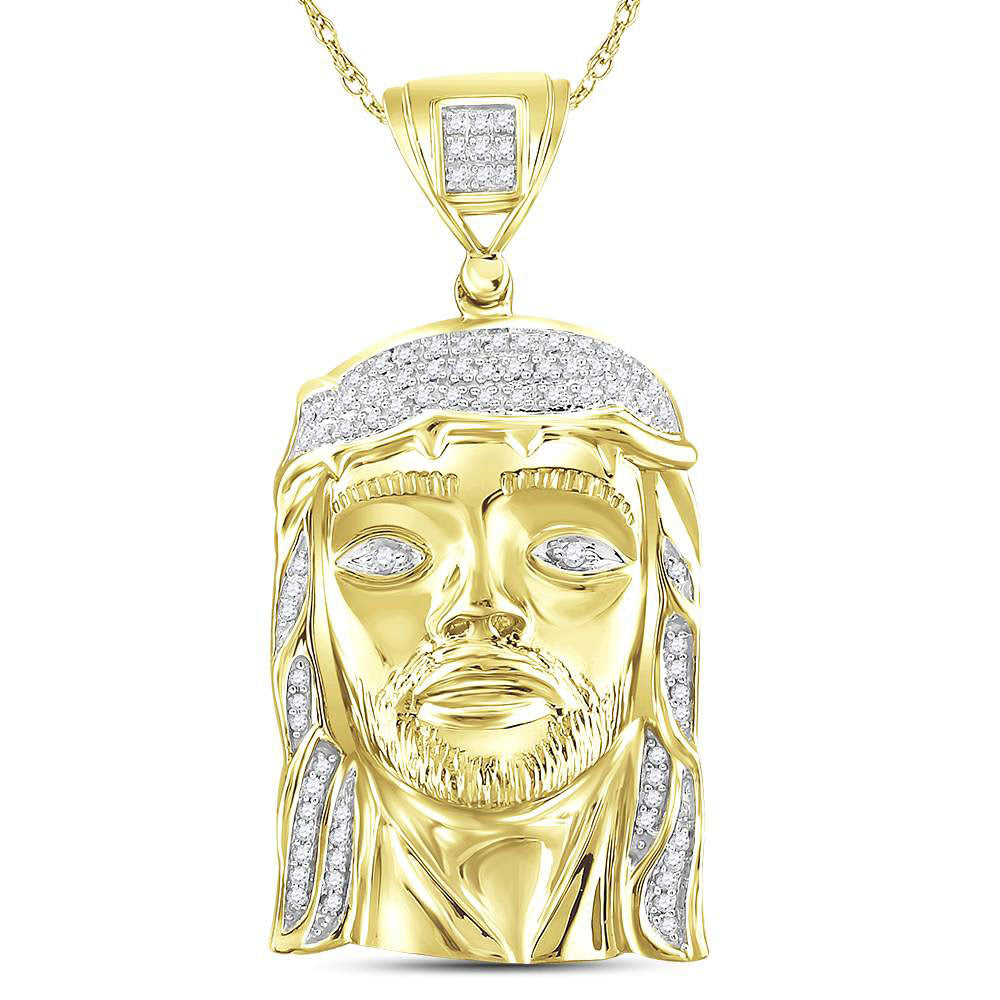 10kt Yellow Gold Mens Round Diamond Jesus Face Charm Pendant 1/4 Cttw