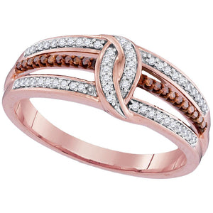 10kt Rose Gold Womens Round Red Color Enhanced Diamond Loop Band Ring 1/5 Cttw