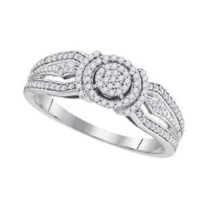 10kt White Gold Round Diamond Cluster Bridal Wedding Engagement Ring 1/4 Cttw
