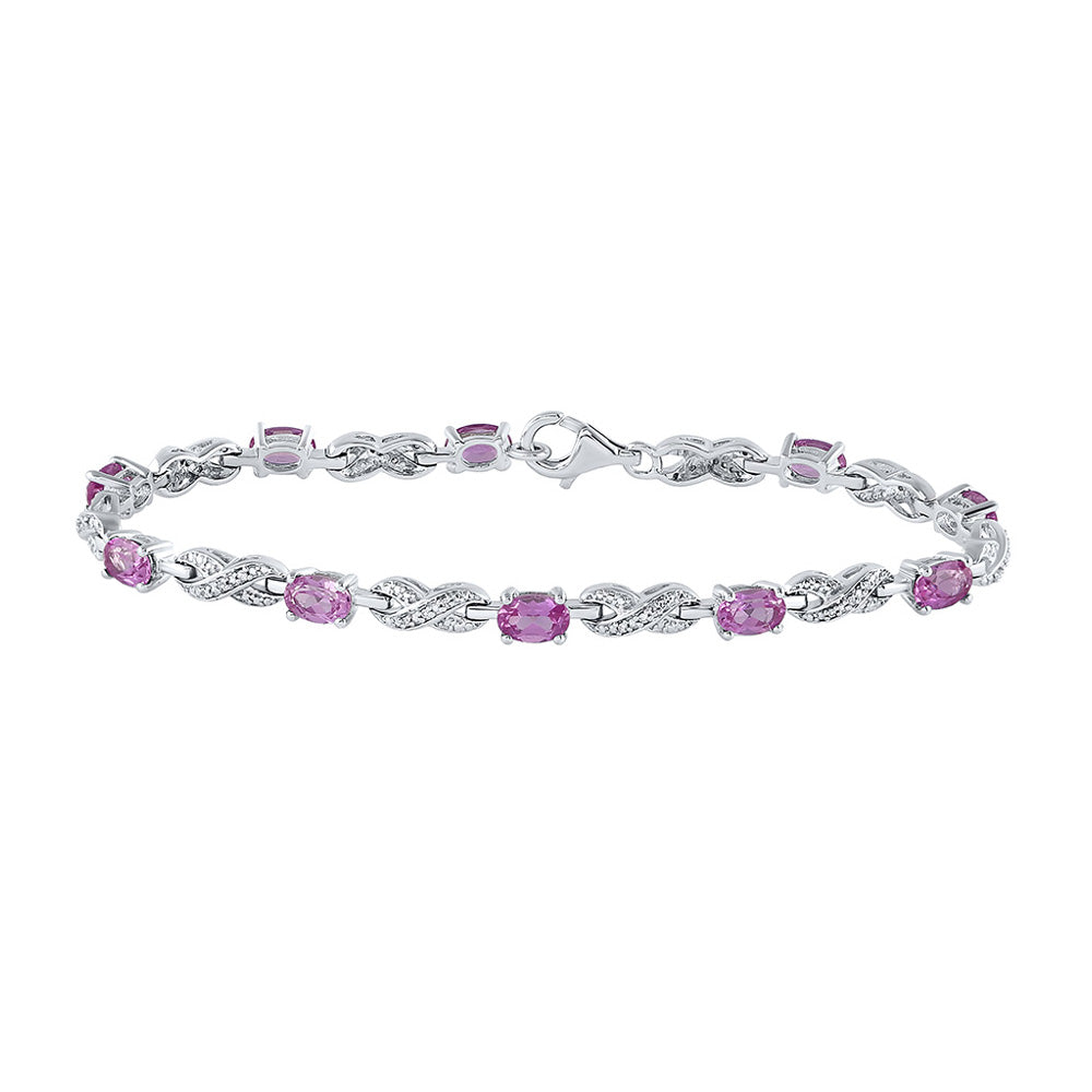Sterling Silver Womens Oval Lab-Created Pink Sapphire Fashion Bracelet 3-7/8 Cttw