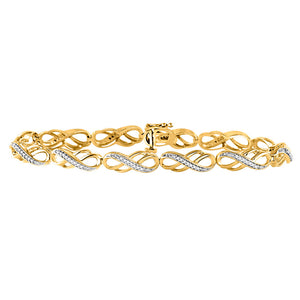 10kt Yellow Gold Womens Round Diamond Infinity Bracelet 1/4 Cttw