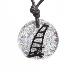 Surfer Necklace with Dichroic Glass Windsurfing Sail and Board Pendant - Zulasurfing Jewelry  - 1