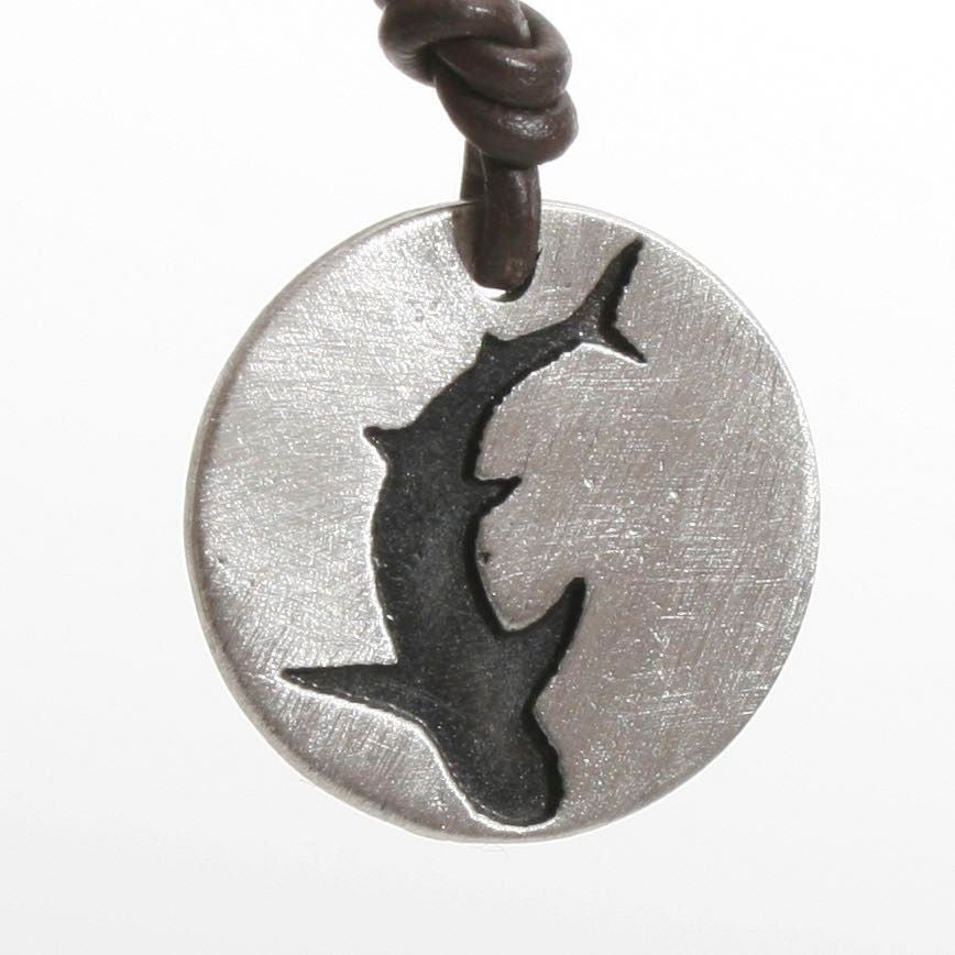 Shark Necklace Great White pendant Silhouette coin style Shark Jewelry - Zulasurfing Jewelry  - 1