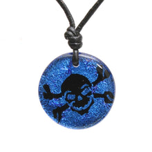 Load image into Gallery viewer, Surfer Necklace with blue Dichroic Glass Skull Pendant - Zulasurfing Jewelry  - 1