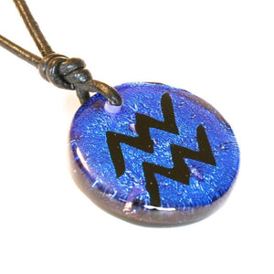 Aquarius Zodiac necklace | Dichroic Glass - Zulasurfing Jewelry  - 2