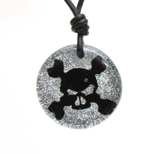 Load image into Gallery viewer, Surfer Necklace with silver Dichroic Glass Skull Pendant - Zulasurfing Jewelry  - 1