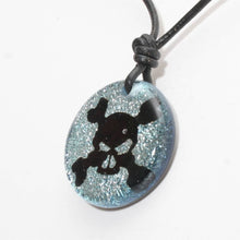 Load image into Gallery viewer, Surfer Necklace with silver Dichroic Glass Skull Pendant - Zulasurfing Jewelry  - 3