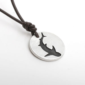 Shark Necklace Great White pendant Silhouette coin style Shark Jewelry - Zulasurfing Jewelry  - 2