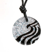 Load image into Gallery viewer, Surfer Necklace with silver Dichroic Glass Wave Pendant - Zulasurfing Jewelry  - 1