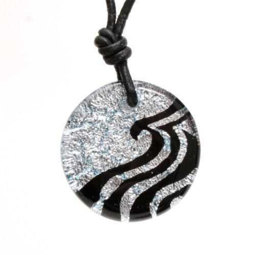 Surfer Necklace with silver Dichroic Glass Wave Pendant - Zulasurfing Jewelry  - 1