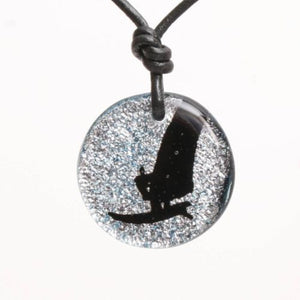 Windsurf necklace windsurfer pendant Dichroic Glass Silver color - Zulasurfing Jewelry  - 1