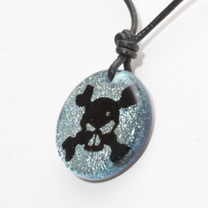 Surfer Necklace with silver Dichroic Glass Skull Pendant - Zulasurfing Jewelry  - 2
