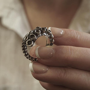 Sterling silver adjustable tentacle ring - Zulasurfing Jewelry -2