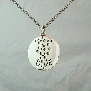 Scuba Diving Jewelry scuba necklace 925 Sterling Silver coin pendant - Zulasurfing Jewelry  - 2