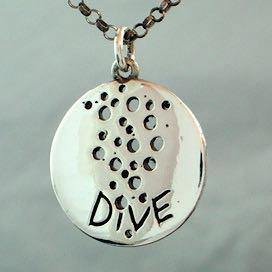 Scuba Diving Jewelry scuba necklace 925 Sterling Silver coin pendant - Zulasurfing Jewelry  - 1