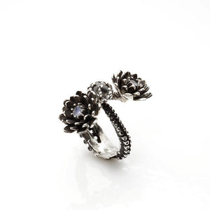 Silver Platinum Tentacle 2 flower ring and diamonds adjustable ring - Zulasurfing Jewelry  - 4