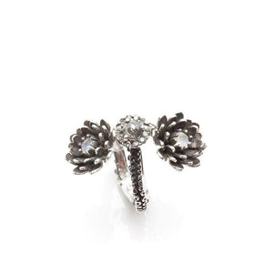 Silver Platinum Tentacle 2 flower ring and diamonds adjustable ring - Zulasurfing Jewelry  - 3