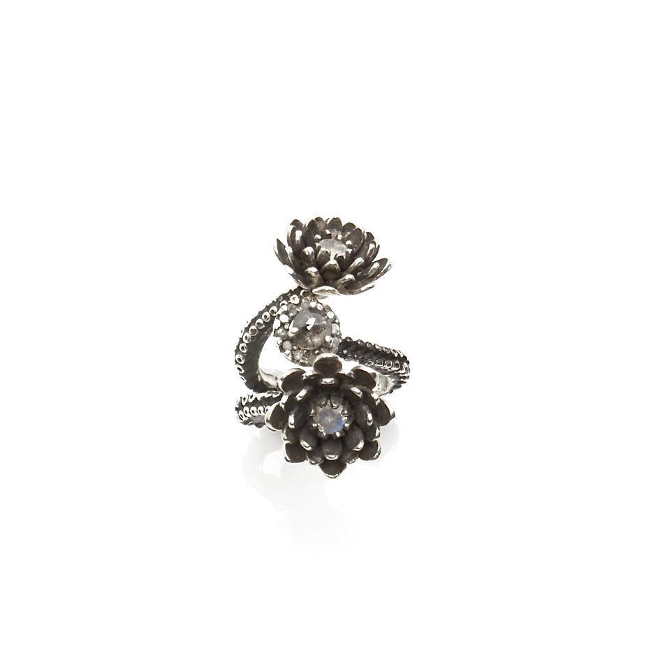Silver Platinum Tentacle 2 flower ring and diamonds adjustable ring - Zulasurfing Jewelry  - 1
