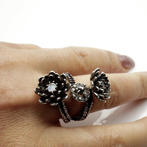 Silver Platinum Tentacle 2 flower ring and diamonds adjustable ring - Zulasurfing Jewelry  - 6