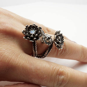 Silver Platinum Tentacle 2 flower ring and diamonds adjustable ring - Zulasurfing Jewelry  - 7