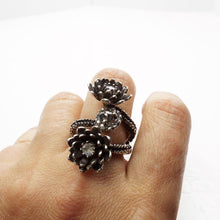 Load image into Gallery viewer, Silver Platinum Tentacle 2 flower ring and diamonds adjustable ring - Zulasurfing Jewelry  - 2