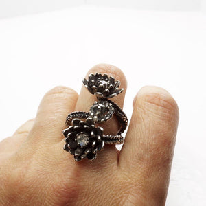 Silver Platinum Tentacle 2 flower ring and diamonds adjustable ring - Zulasurfing Jewelry  - 2