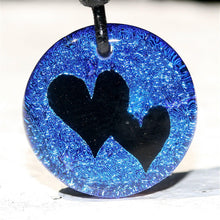 Load image into Gallery viewer, 2 Heart Charm Dichroic Glass Pendant Love Jewelry Art - Zulasurfing Jewelry  - 2