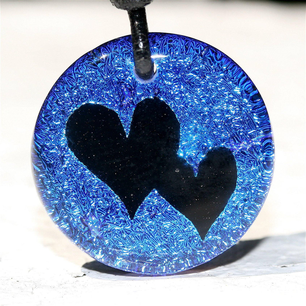 2 Heart Charm Dichroic Glass Pendant Love Jewelry Art - Zulasurfing Jewelry  - 2