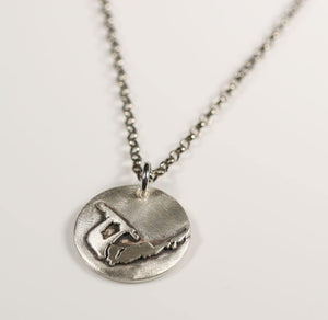 KiteSurfing Necklace with kiteboarder Silhouette coin style pendant - Zulasurfing Jewelry  - 2