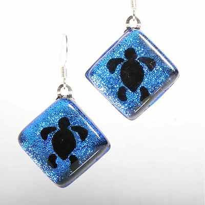 Sea turtle Dichroic glass Earrings - Zulasurfing Jewelry