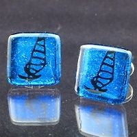 Windsurfing cufflinks with Glass in 925 sterling Silver - Zulasurfing Jewelry