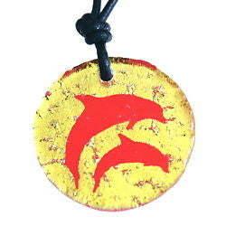 Dichroic Glass Dolphin necklace - Zulasurfing Jewelry  - 1