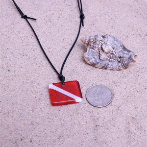 Scuba Diving Necklace down flag scuba jewelry made with art glass - Zulasurfing Jewelry  - 2