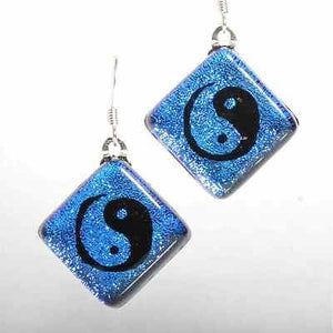 Fused Yin Yang Dichroic Glass Earrings - Zulasurfing Jewelry