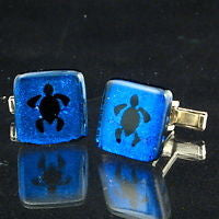 Dichroic Glass Sea Turtle cufflinks turtles - Zulasurfing Jewelry