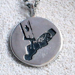 KiteSurfing Necklace with carved kiteboarder Silhouette coin Pendant - Zulasurfing Jewelry