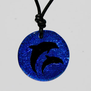 Dichroic Glass Dolphin necklace - Zulasurfing Jewelry  - 2