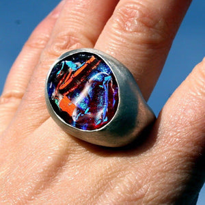 Hand Carved Sterling Silver Ring size 6 With Dichroic Glass - Zulasurfing Jewelry