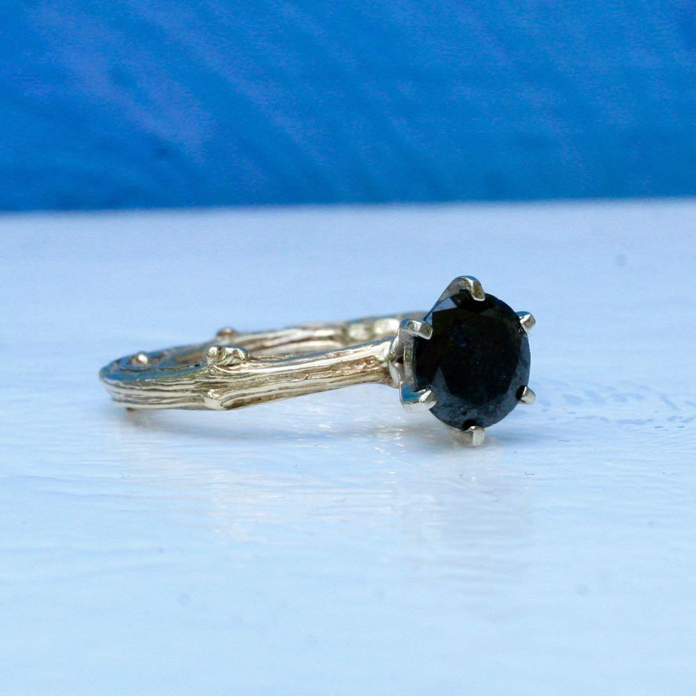 Branch engagement ring in 10k and 14k gold and black diamond ring size 5 3/4 - Zulasurfing Jewelry  - 1