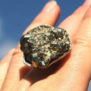 925 Sterling Silver and Pyrite Ring - Zulasurfing Jewelry  - 3