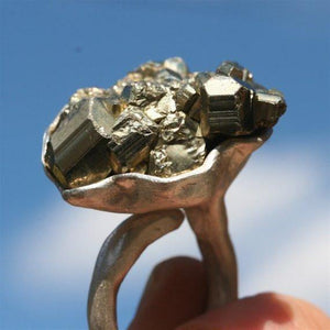 925 Sterling Silver and Pyrite Ring - Zulasurfing Jewelry  - 4