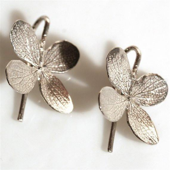 Sterling Silver 4 leaf flower Dangle Earrings - Zulasurfing Jewelry  - 1