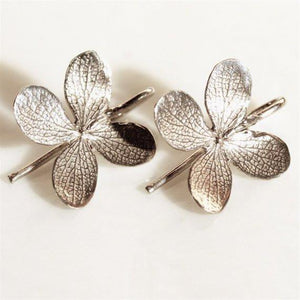 Sterling Silver 4 leaf flower Dangle Earrings - Zulasurfing Jewelry  - 2