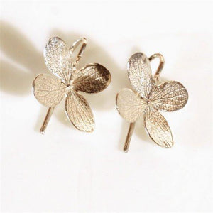 Sterling Silver 4 leaf flower Dangle Earrings - Zulasurfing Jewelry  - 3